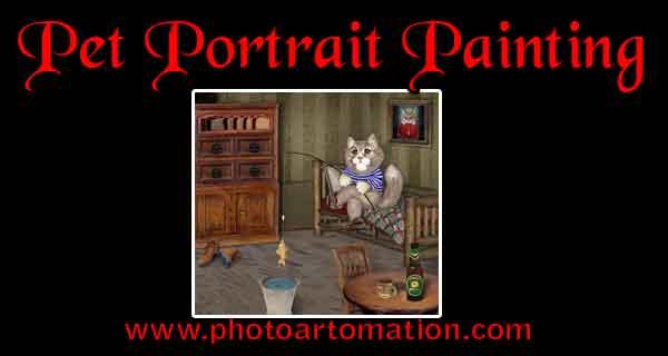 Custom pet portrait painting from photo, dog, cat