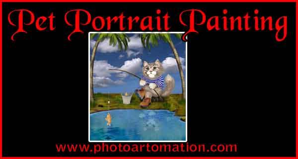 Custom size pet portrait painting from photo, dog, cat