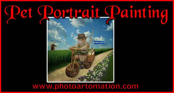 Custom portrait painting from pet pictures, dog, cat