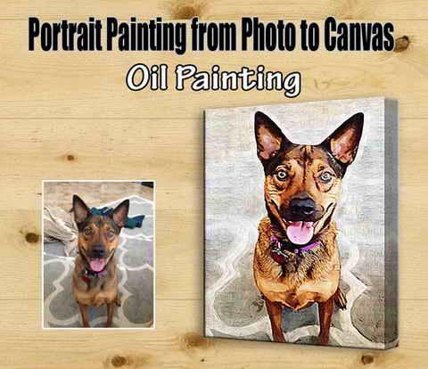 Pet portrait oil painting, cats, dogs
