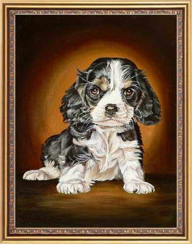 Custom size frame, pet portrait painting in oil