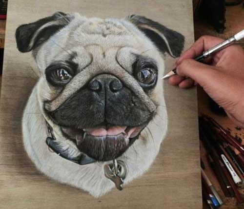 Dog portrait drawing, pet canvas