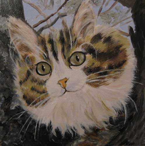 Custom cat portrait oil painting from photo, canvas
