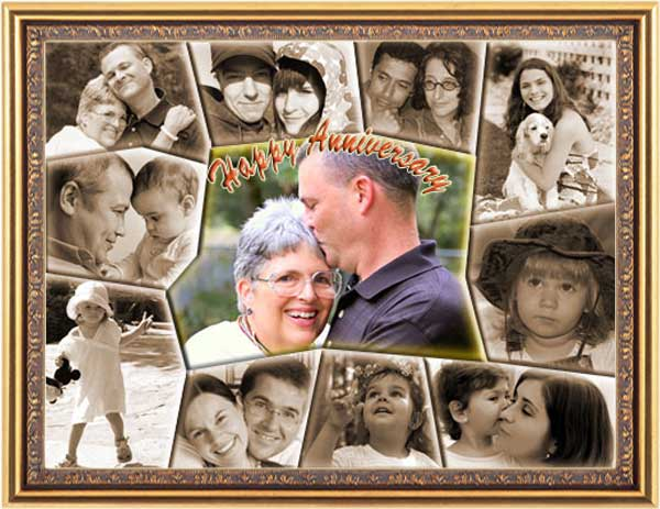40 marriage years together, anniversary collage for parents, 41, 42, 43, 44 photos