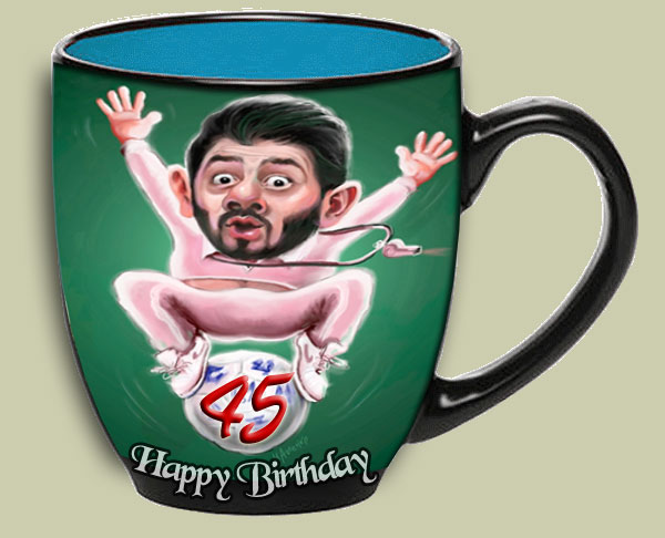 Personalized  45th birthday cup, gift ideas for brother turning 45, 46, 47,48, 49, 50 birth-day