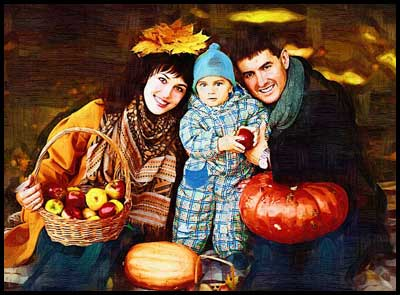 Birthday gift ideas for dad – family portrait oil painting