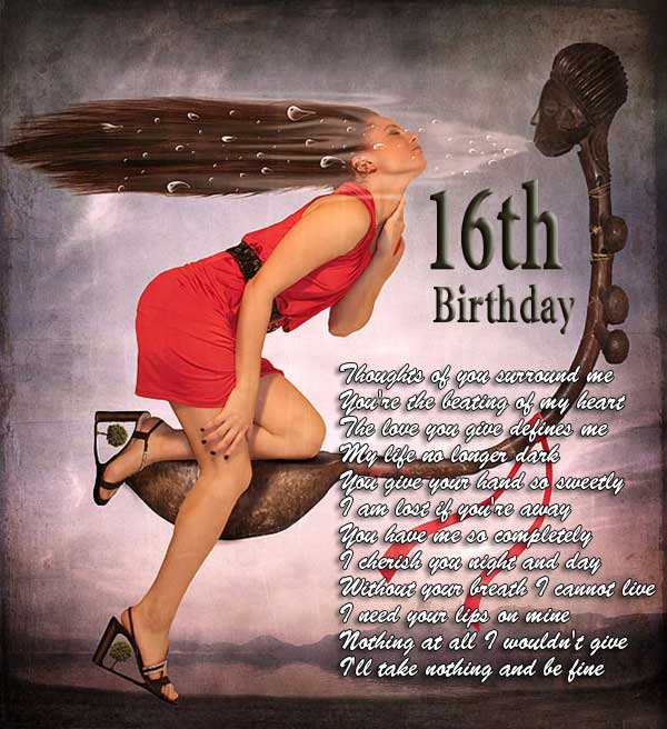 Romantic 16th birthday gifts for girlfriend, love poem, wishes, e-card