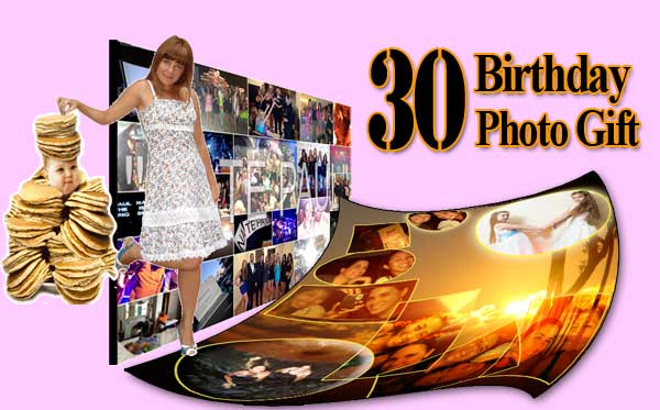 Best 30th birthday photo gift for sister, collage, 30 wishes, bd quotes, bday greeting