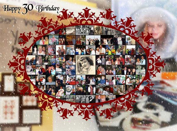 Creative 30th  birthday gift, 30 greetings collage for sister