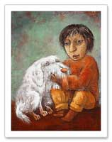 Little boy and white dog portrait painting canvas print