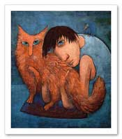 Boy with red furry cat portrait painting canvas print