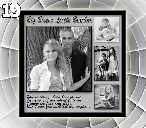Personalized 19th birthday black-white collage for younger brother