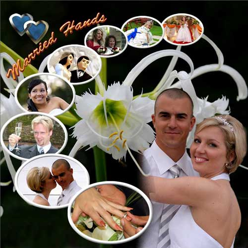 marriage photo collage – married hands