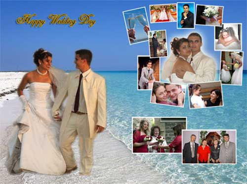 photo collage for wedding – bride and groom