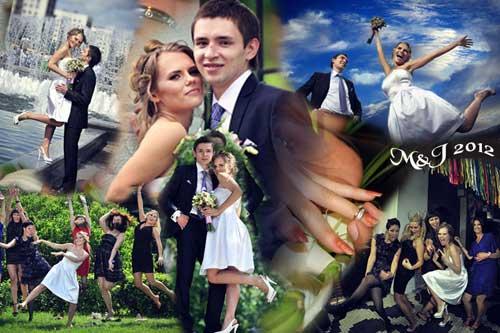 wedding photo wall collage