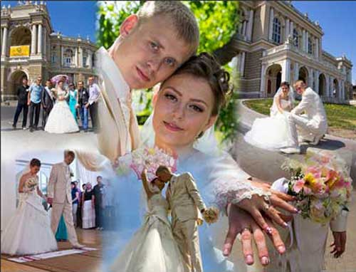 photo collage wedding for just married couple