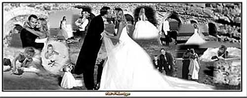 panoramic wedding black and white photo collage