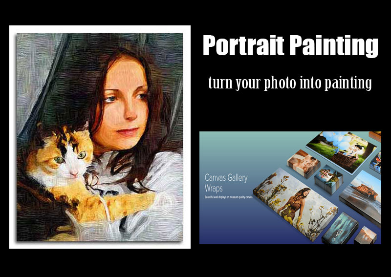 Wife and her pet, 30x40 portrait oil painting from dog and cat pictures acrylic print