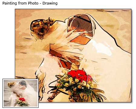 Wedding portrait painting from photo to canvas