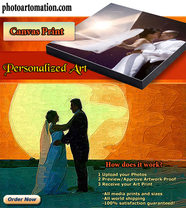 Wedding Photo to Portrait Painting Canvas Print