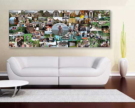Panoramic Picture Photomontage, photo collage arrangement and design, wall decoration