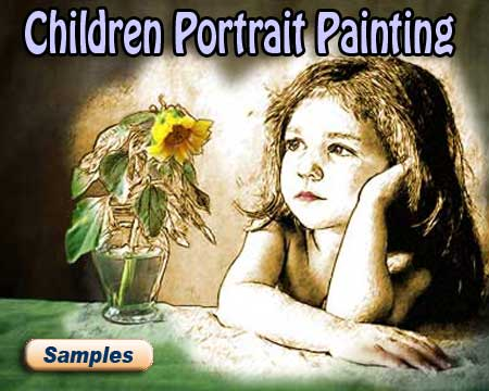 Children portrait paintings from kids, baby photos – unique gift for grandparents