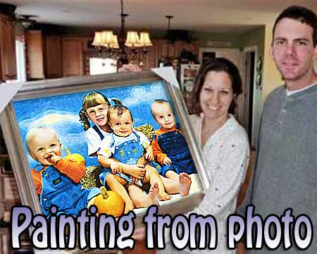 Custom portrait painting from digital images as a gift for man and woman