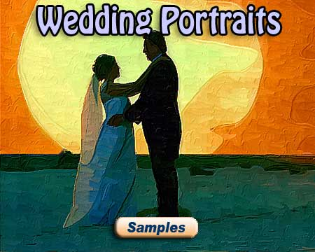 WWedding portrait painting as a love gift from newlyweds, groom, bride pictures