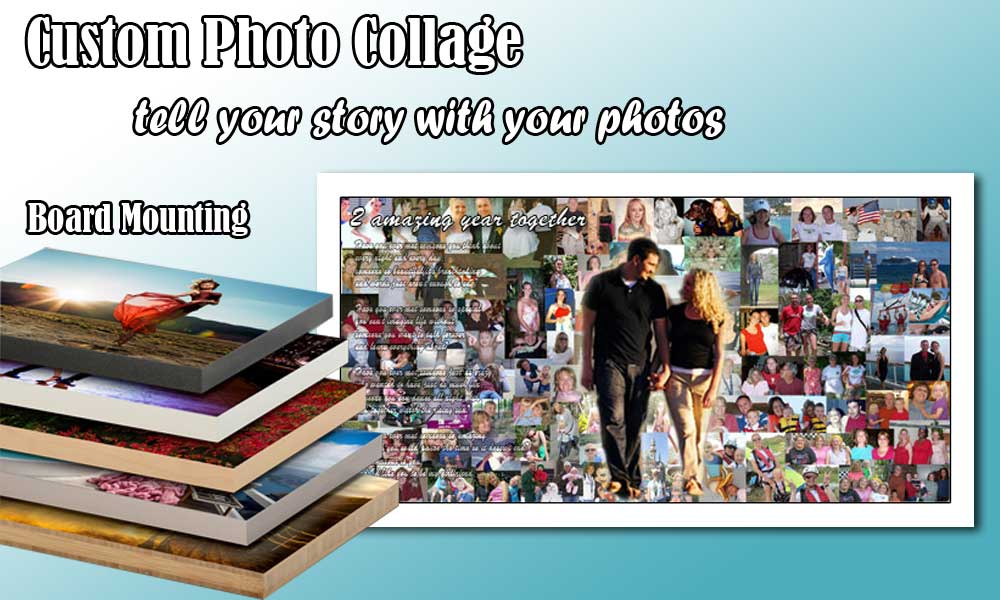 Custom up to 100 photos collage, lightweight board mount