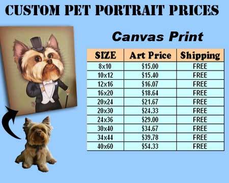 Custom pet canvas portrait price list