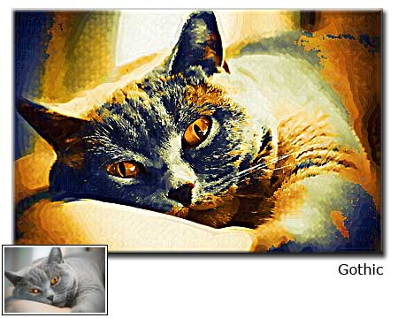 Cat portrait painting in gothic from photography