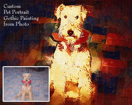 Dog photo to Gothic portrait painting