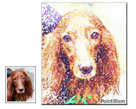 Pointillism painting Pet Portrait