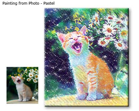 Pet portrait painting from photo in pastel