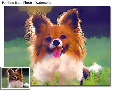 Pet portrait painting from photo in watercolor