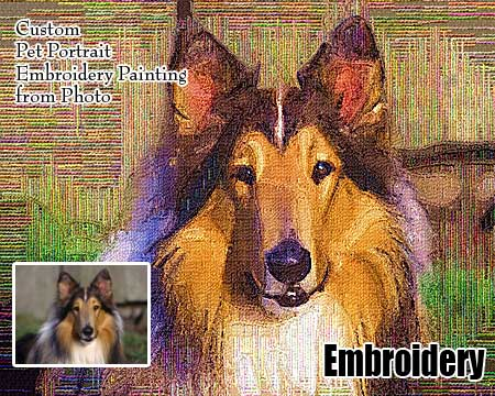 Pet photo to Embroidery portrait painting