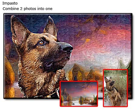 Custom dog portrait painting from 2 photos, commissioned size 16x24 canvas