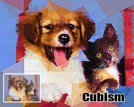 Pet photo to painting, cat-dog cubism portraits