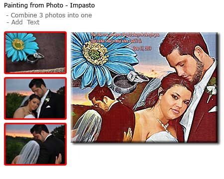 Unusual gift ideas for 1 year wedding anniversary to wife – portrait of bride and groom from photo to canvas