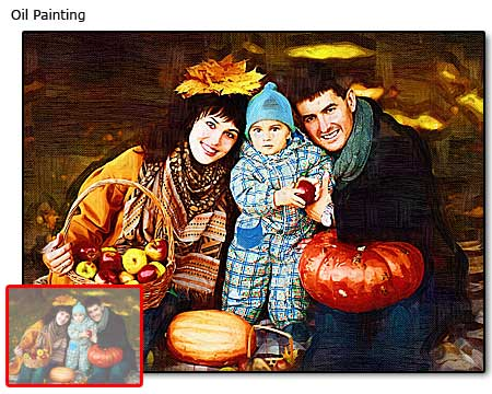 Personalized gifts to wife on 5th marriage anniversary – family portrait canvas oil painting