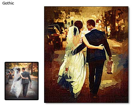 Best 1st anniversary photo gift ideas for wife – gothic portrait canvas painting
