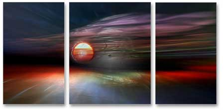 MP3002 set of 3 Panels Stretched Canvas Print abstract art