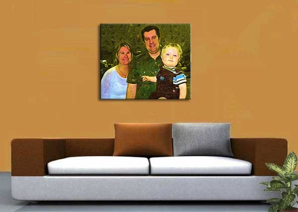 Painting from family photo customized for your husband birthday