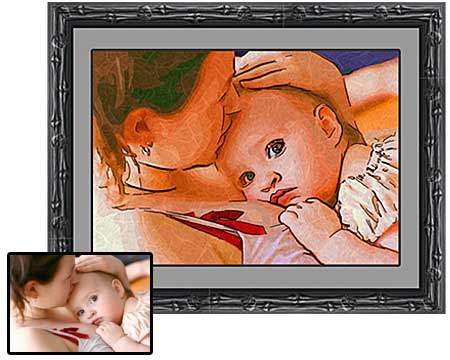 Mom and baby framed portrait painting