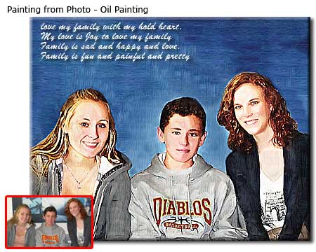 Mom and her Children Photo to Painting Portrait