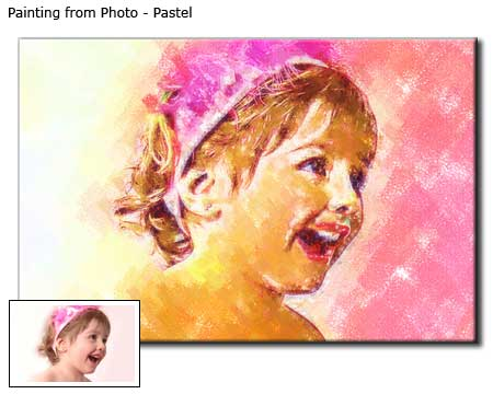 Beautiful girl portrait pastel painting