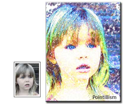 Pointillism painting Children Portrait