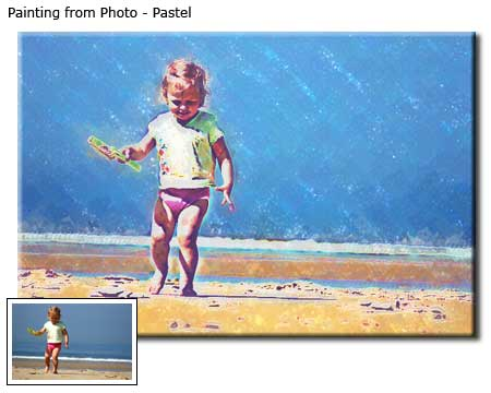 Portrait pastel painting from children photo