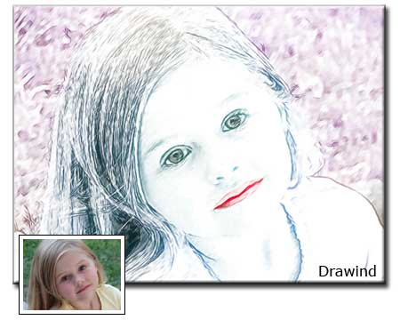 Children portrait drawing from girl photo