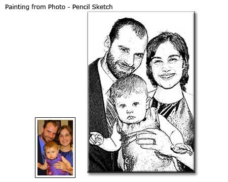Pencil Sketch Family Portrait